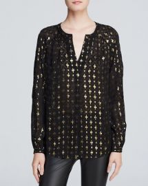 DIANE von FURSTENBERG Blouse - V Neck Metallic at Bloomingdales