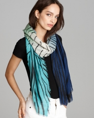 DIANE von FURSTENBERG Tiger Tree Hanovar Scarf in teal at Bloomingdales