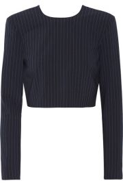 DKNY   Cropped pinstriped stretch wool-blend top at Net A Porter