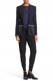 DKNY Colorblock Mixed Media One-Button Jacket at Nordstrom