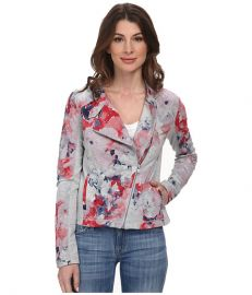 DKNY Jeans Floral Printed Moto Jacket Light Smoke Heather Grey at 6pm