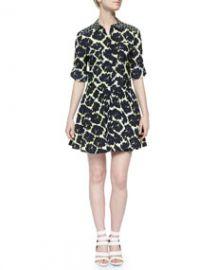 DKNY Long-Sleeve Mixed-Print Shirtdress at Neiman Marcus