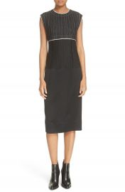 DKNY Pinstripe Mixed Media Sheath Dress at Nordstrom