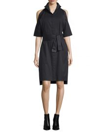 DKNY Poplin Cold-Shoulder Shirtdress at Neiman Marcus