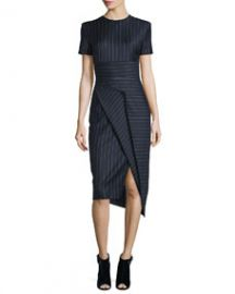 DKNY Short-Sleeve Pinstripe Midi Dress Classic Navy at Neiman Marcus