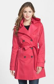 DKNY and39Abbyand39 Double Breasted Trench Coat with Detachable Hood at Nordstrom