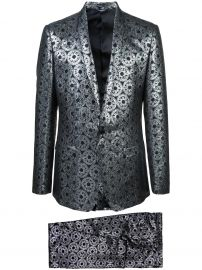 DOLCE  GABBANA METALLIC JACQUARD SUIT - BLACK at Farfetch