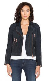 DOMA Suede Moto Jacket in Navy Blue at Revolve
