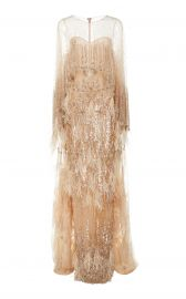 DOUBLE CAPE TULLE GOWN WITH SEQUIN AND OSTRICH FEATHER PLUMES Pamella Roland at Moda Operandi