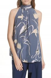 DVF Sleeveless High Neck Silk Blouse at Nordstrom