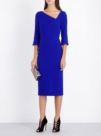 Danby Asymmetric Wool-Crepe Dress Blue at Selfridges