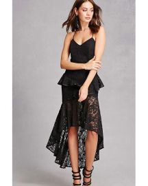 Dark Pink Lace High-Low Dress at Forever 21