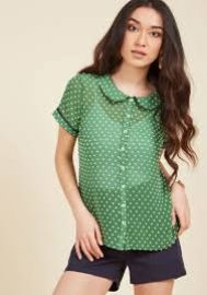 Darling in Dots Button-Up Top in Clover at ModCloth