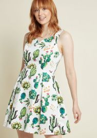 Dashing Darling A-Line Dress in Succulents at ModCloth