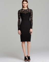David Meister Dress - Tattoo Sleeve Ruched Bodice Jersey Sheath at Bloomingdales