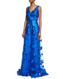 David Meister Floral Applique Gown at Neiman Marcus
