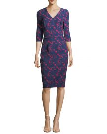 David Meister Floral-Print 3 4 Sleeves Crepe Sheath Day Dress at Neiman Marcus