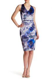 David Meister Floral Print V-Neck Sheath Dress at Nordstrom Rack