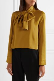 Dawn pussy-bow satin-crepe blouse by Khaite at Net A Porter