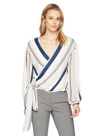 Daya Blush Striped Wrap Blouse by Ramy Brook at Amazon