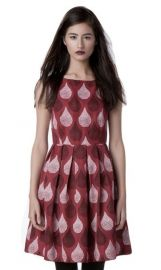 Dear Creatures Womenand39s Harper 60s Teardrop Print Retro Dress in berry at Amazon