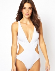 Deep Plunge Cut Out Swimsuit at Asos
