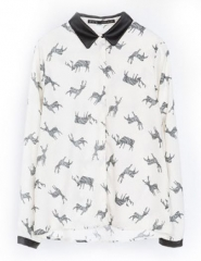 Deer print blouse at She Inside