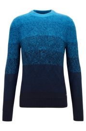Degrade Sweater with Aran-knit Detailing at BOSS