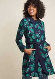 Delightful Direction Floral Coat in Navy at ModCloth