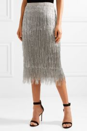Delilah metallic fringed midi skirt rachel zoe at Net A Porter