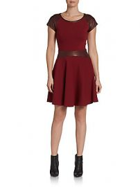 Delyse leather combo dress at Saks Off 5th