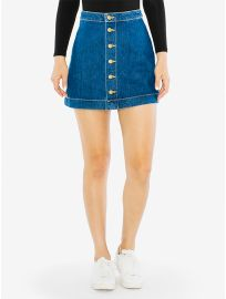 Denim Button Front A-Line Mini Skirt at American Apparel