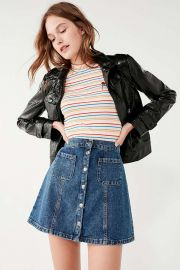 Denim Button-Front Skirt by Urban Outfitters at Urban Outfitters