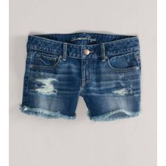 Denim Destroyed Midi Shorts at American Eagle