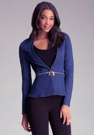 Denim Zip Off Peplum Jacket at Bebe