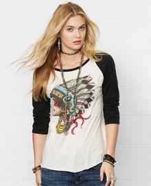 Denim and Supply Ralph Lauren Long-Sleeve Headdress Graphic Baseball T-Shirt - Tops - Women - Macys at Macys