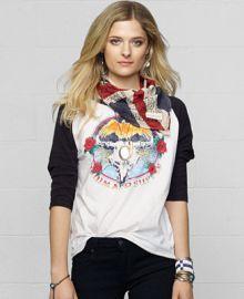 Denim and Supply Ralph Lauren Raglan-Sleeve Skull Graphic Tee - Tops - Women - Macys at Macys