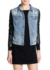 Denim and leather jacket at Mango