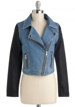 Denim jacket with black sleeves at Modcloth