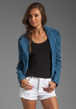 Denim moto jacket by CAMEO at Revolve