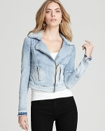 Denim moto jacket by Guess at Bloomingdales at Bloomingdales