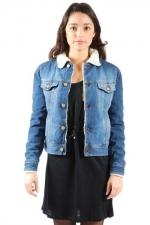 Denim shearling jacket at Shoptiques
