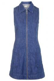 Denim zip front dress at Topshop