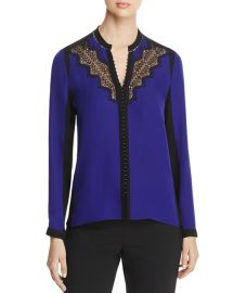 Denise Lace Trim Color Block Blouse Elie Tahari at Bloomingdales
