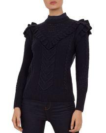 Denita Ruffled Cable-Knit Sweater at Bloomingdales