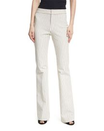Derek Lam 10 Crosby Mid-Rise Striped Flare Cotton-Stretch Trouser at Neiman Marcus