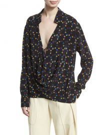 Derek Lam Cuneiform-Print Collared Silk Drape Blouse  Black at Neiman Marcus