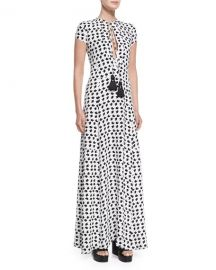 Derek Lam Short-Sleeve Crescent-Print Gown at Last Call