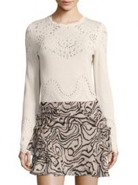 Derek Lam 10 Crosby - Pointelle Cotton Sweater at Saks Off 5th