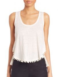Derek Lam 10 Crosby - Pom-Pom Linen Tank Top at Saks Off 5th